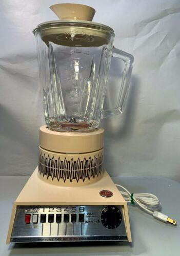 Vintage Hoover 1970s Kitchen Food Blender w/ Timer Model K6003 Almond - WORKS