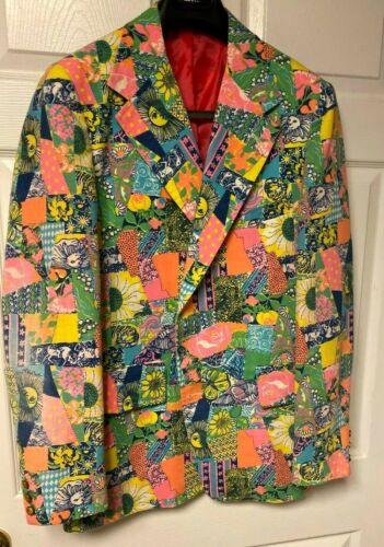 Rare Vintage Lilly Pulitzer Mens Stuff Vibrant Multicolor Hopsack Blazer 44 L