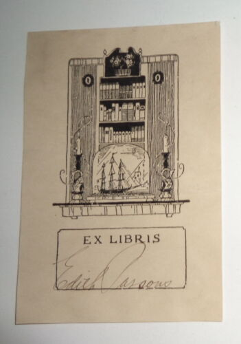 Edith Parsons, sculptor - Ex-Libris Bookplate - signed
