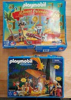 PLAYMOBIL Lot of 2, 4156 Pirate Advent Calendar, 5719 Christmas Nativity Set NM!
