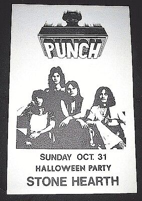 Vintage 1976 Punch Rock Band Poster-Halloween Stone Hearth, Madison, Wisconsin