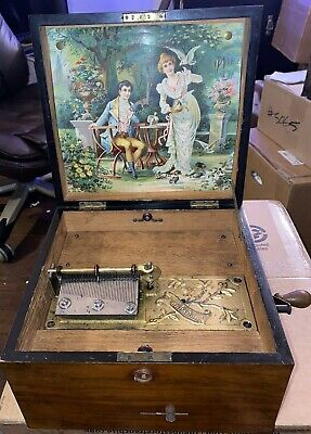 Antique Troubadour Disc Music Box w 6 Discs - Germany - 1890's - SEE VIDEO