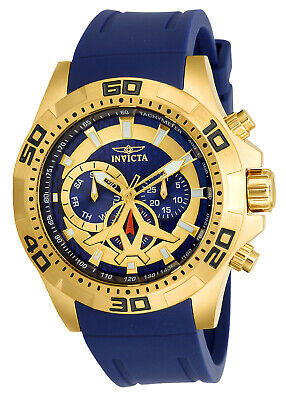 Invicta 21737 Men's Aviator Gold Tone & Blue Dial Blue Polyurethane Strap Watch