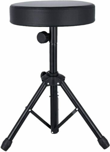 5 Core 360° PRO Black Drum Throne Stool Stand Chair STRONG COMFORT Padded Seat