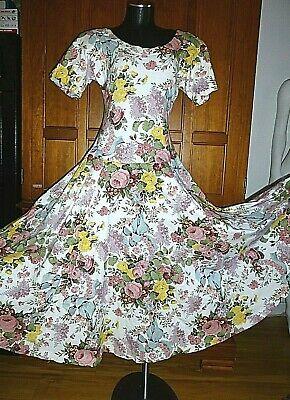 80s Dresses | Casual to Party Dresses VTG 80s 90s Karen Kane Jersey Cotton Floral BoHo Chic Full Skirt Midi DRESS $49.30 AT vintagedancer.com
