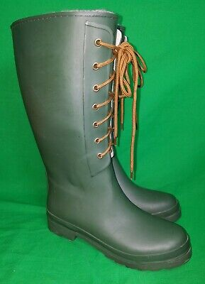 Used J Crew Green Rubber Tall Boots w/Top Liners Ladies 8 Womens Rain NICE