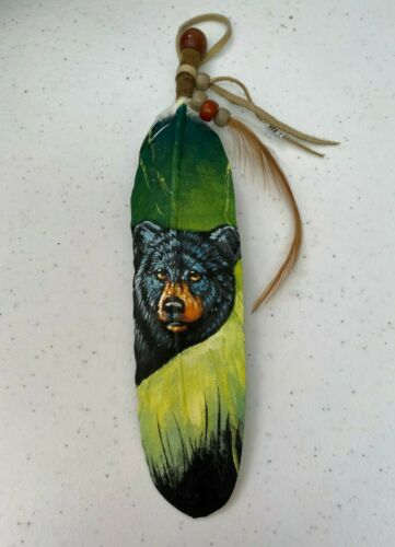 NEW HAND PAINTED FEATHER , ARTS & CRAFTS ,SOUTHWEST ART , NEW , BLACK BEAR