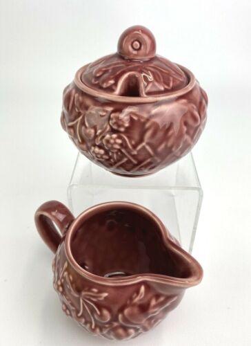 Vintage Wade of England Ceramic Sugar Creamer Set Embossed Fruit Basket Mauve