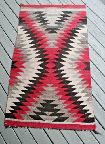 "Vtg Wool Native American Navajo Rug Blanket Textile Eye Dazzler 46"" X 25"" ~ #1"