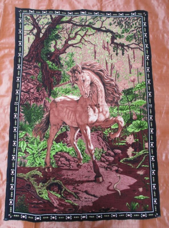"""Vintage Unicorn and Snake Tapestry Wall Hanging RT Made in Turkey 34"""" x 50"""""""