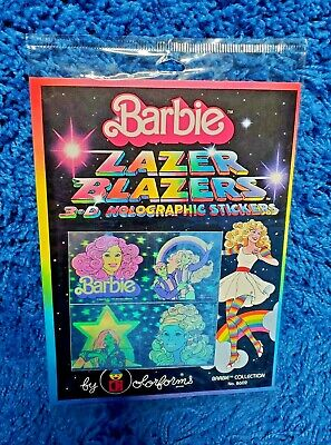 Vintage 1983 Barbie Lazer Blazers 3d Holographic stickers by Colorforms NEW
