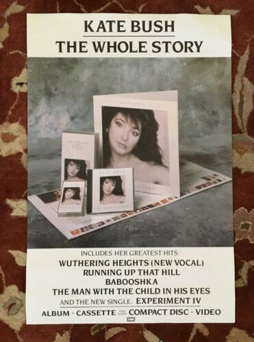 KATE BUSH  The Whole Story  rare original promotional poster from 1986