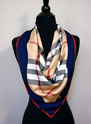 New Authentic Blue Border Red Burberry Beige Check Twill Silk Scarf