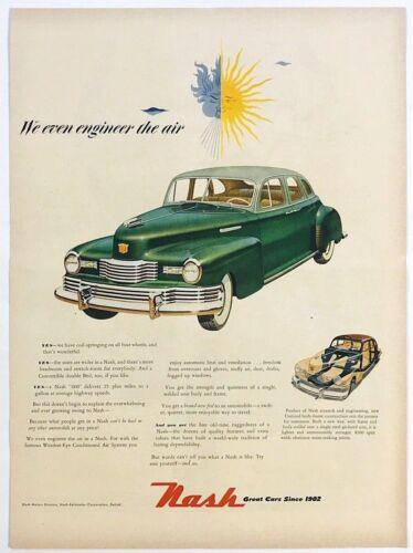 Original 1948 Print Ad Car Nash Kelvinator Green Automobile Color Art Design