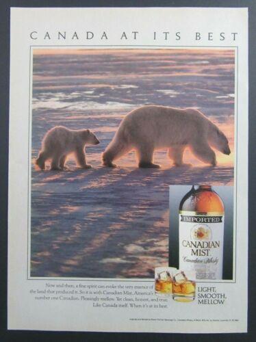 1989 CANADIAN MIST Imported Canadian Whisky Polar Bears Magazine Print Ad