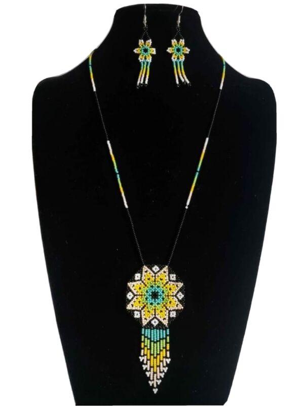 huichol beads,2 pcs circle star, mexican women