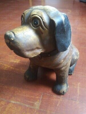 Hand Carved Solid Wood Dog. Leather Collar.. Nice size & detail!!! 12x11x7 Leather Carved Wood