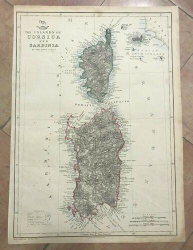 CORSICA SARDINIA (FRANCE ITALY) 1863 JOHN DOWER LARGE ANTIQUE MAP XIXe CENTURY