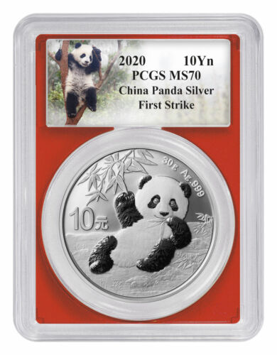 2020 China 30 g Silver Panda ¥10 Coin PCGS MS70 FS Custom Panda Label SKU59845