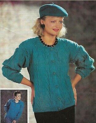 """Ladies Twin Set Knitting Pattern Sweater Cardigan Crew Neck 32-38"""" DK 1193"""
