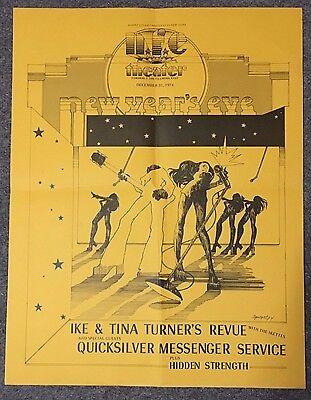 RARE Fillmore East Concert Poster  Ike & Tina Turner Quicksilver 1974