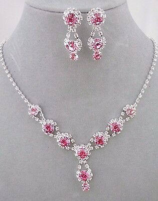 Pink With Crystal Rhinestone Necklace Set Silver Fashion Jewelry NEW Pretty!