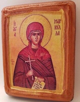 Marcella Rose (Saint Marcella Markella Catholic & Orthodox Byzantine Rose Gold  Wooden Icon)