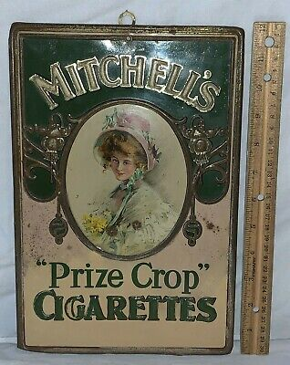 ANTIQUE MITCHELL'S PRIZE CROP CIGARETTES TIN LITHO COUNTRY STORE TOBACCO SIGN