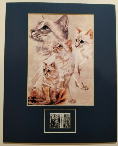BEAUTIFUL WHITE DOMESTIC CATS - PERSIAN - FRAMEABLE POSTAGE STAMP ART - 0989