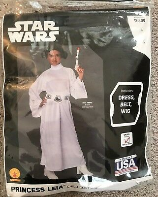 NEW Star Wars Princess Leia Child's costume SZ MED (8-10) white dress