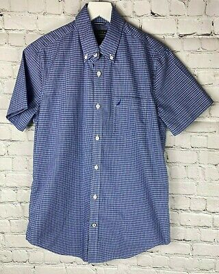 NAUTICA Mens' Blue Plaid Slim Fit Short Sleeve Shirt Size Small