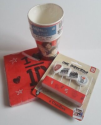 ONE DIRECTION PARTY TABLEWARE CUPS NAPKINS CANDLES 1D DECORATIONS ()