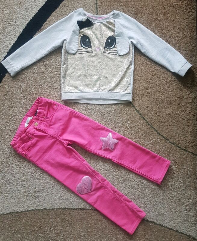 Lot Of 2 Girls H&m Stretch Pants Sweater Sequin Pink  Beige Bunny Size 4-6
