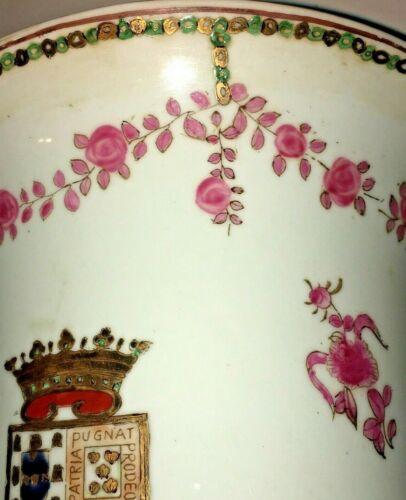 CHINESE EXPORT PORCELAIN ARMORIAL GILT FAMILLE ROSE VASE POT BOWL PLANTER JAR