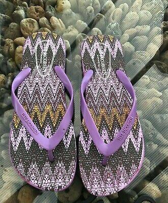 Ilse Jacobsen Designer Purple Rubber Flip Flops Patterned Sole Various Sizes New