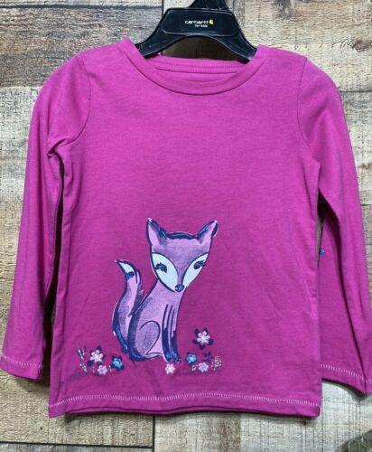 Carhartt Girls 12M Long Sleeve Pink Embroidered T-Shirt Glitter Logo New
