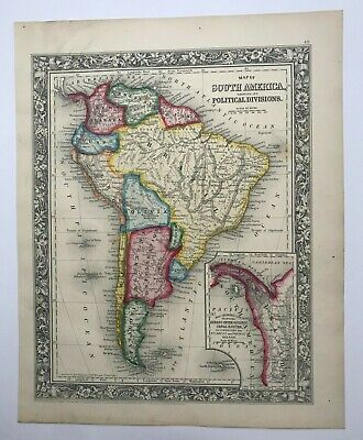 SOUTH AMERICA 1860 MITCHELL LARGE ANTIQUE ENGRAVED MAP 19TH CENTURY