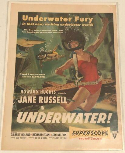 UNDERWATER! Vintage Original Magazine Advertisement - 1955 - JANE RUSSELL
