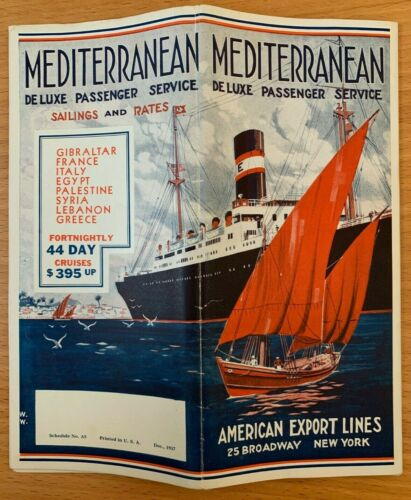 AMERICAN EXPORT LINES STEAMSHIP GREAT AMERICAN FLEET 1937 Mediterranean SYRIA