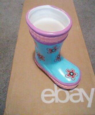 Rain Boot Planter (Ceramic Rain Boot Planter! Hand Painted Blue w/ Flowers! Brand New, Fast)