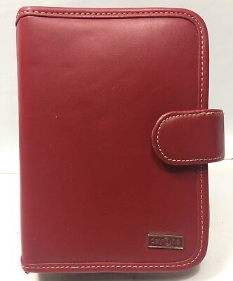 Day One By Franklin Covey Organizer Red Faux Leather Snap Binder Planner