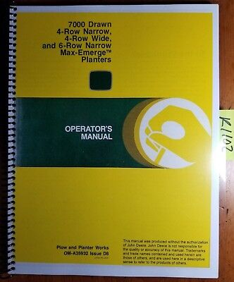 John Deere 7000 Drawn 4rn 4rw 6rn Max-emerge Planter Sn 64401-92235 Oper Manual