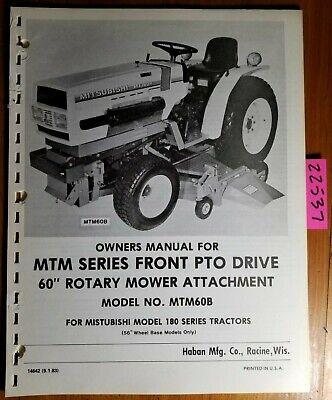 Haban Mtm60b 60 Rotary Mower For Mitsubishi Mt180 Operator Parts Manual 686