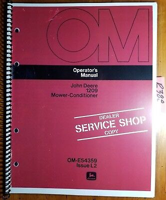 John Deere 1209 Mower-conditioner Sn 10001-285000 Owner Operator Manual L2 72