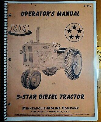 Minneapolis-moline 5 Star Diesel Tractor Owners Operators Manual S-242