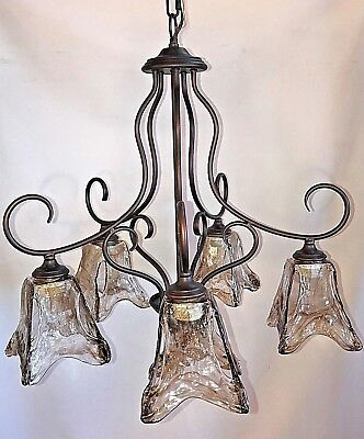 5 light chandelier rubbed bronze with amber hand blown glass*