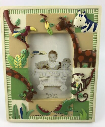 """Jungle Animal Raised Picture Photo Frame Fits 3 1/2"""" x 5""""  Baby Kids Room Resin"""