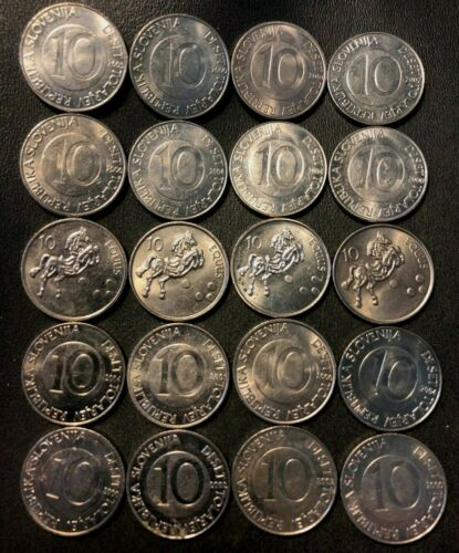 Old SLOVENIA Coin Lot - 10 Tolar - 20 AU/UNC Coins - Hard to Find -FREE SHIPPING