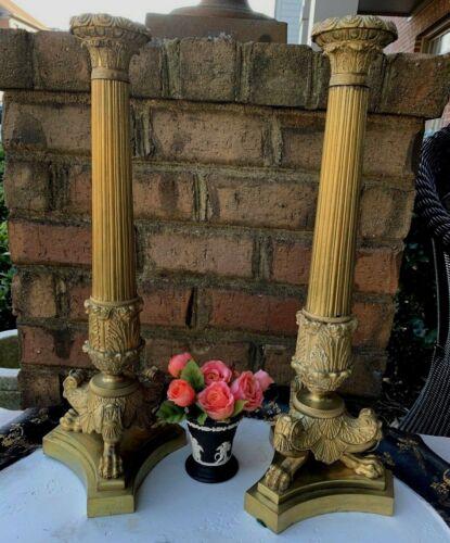 Antique French Empire Bronze Candlesticks