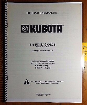 Kubota Bl 4520 6 12 Ft Backhoe Sn 1000- Owner Operator Manual 70000-70183 81